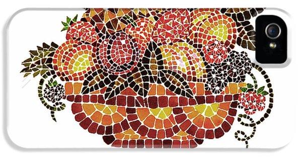 Mosaic iPhone 5 Cases - Italian Mosaic Vase With Fruits iPhone 5 Case by Irina Sztukowski