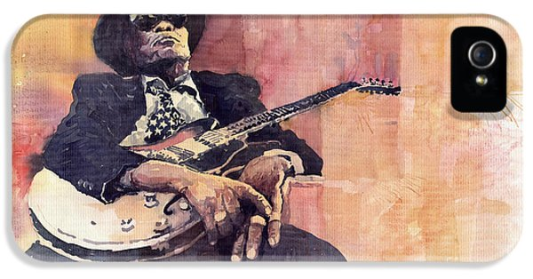 Music Legend iPhone 5 Cases - Jazz John Lee Hooker iPhone 5 Case by Yuriy  Shevchuk