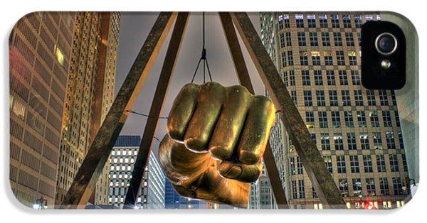Electronic iPhone 5 Cases - Joe Louis Fist Detroit MI iPhone 5 Case by Nicholas  Grunas