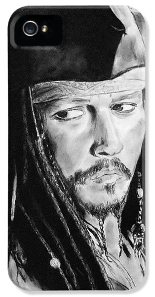 Johnny Depp As Captain Jack Sparrow In Pirates Of The Caribbean II IPhone 5 / 5s Case by Jim Fitzpatrick