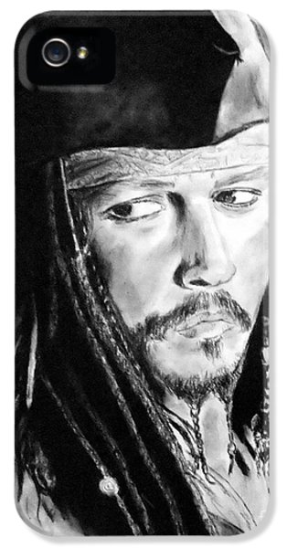 Johnny Depp As Captain Jack Sparrow In Pirates Of The Caribbean IPhone 5 / 5s Case by Jim Fitzpatrick