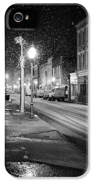 Black Snow iPhone 5 Cases - King Street Charleston Snow iPhone 5 Case by Dustin K Ryan