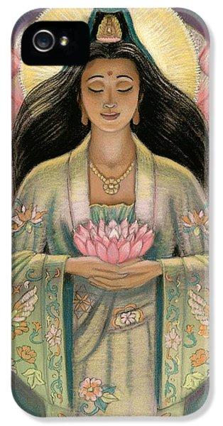 Zen iPhone 5 Cases - Kuan Yin Pink Lotus Heart iPhone 5 Case by Sue Halstenberg