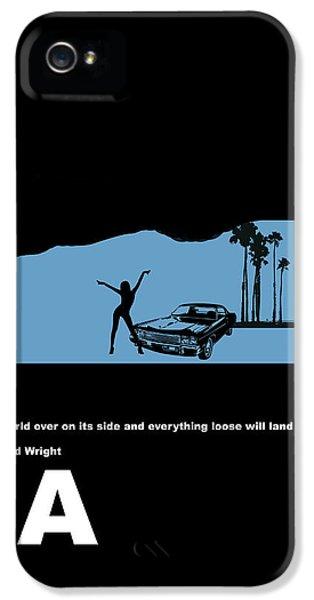 City Scenes iPhone 5 Cases - LA Night Poster iPhone 5 Case by Naxart Studio