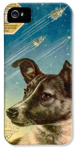 Technological iPhone 5 Cases - Laika The Space Dog Postcard iPhone 5 Case by Detlev Van Ravenswaay