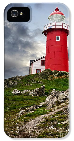 Newfoundland iPhone 5 Cases - Lighthouse on hill iPhone 5 Case by Elena Elisseeva