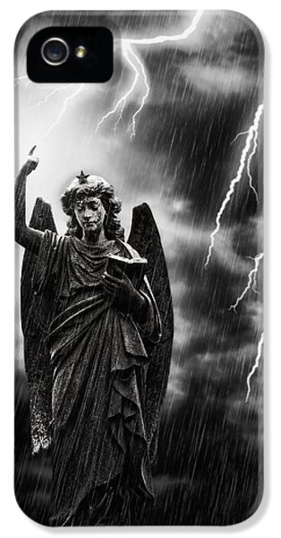 Statue Photographs iPhone 5 Cases - Lightning Strikes the Angel Gabriel iPhone 5 Case by Amanda And Christopher Elwell