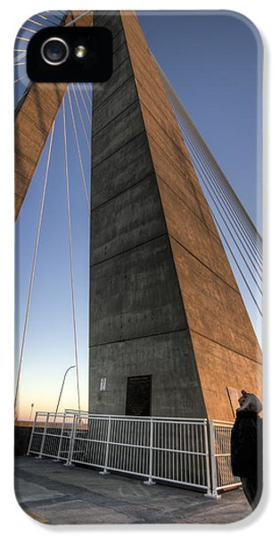 Cable iPhone 5 Cases - Looking Up Cooper River Bridge iPhone 5 Case by Dustin K Ryan