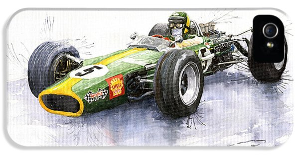 Ford Classic Car iPhone 5 Cases - Lotus 49 Ford F1 Jim Clark iPhone 5 Case by Yuriy  Shevchuk