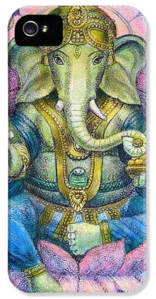 Elephant iPhone 5 Cases - Lotus Ganesha iPhone 5 Case by Sue Halstenberg