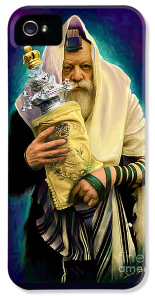 Jewish iPhone 5 Cases - Lubavitcher Rebbe with torah iPhone 5 Case by Sam Shacked