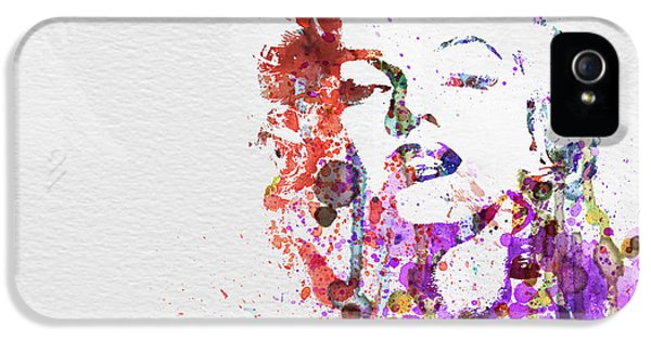 Film Watercolor iPhone 5 Cases - Marilyn Monroe iPhone 5 Case by Naxart Studio