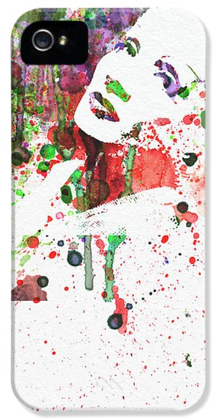 Film Watercolor iPhone 5 Cases - Marlene Dietrich 3 iPhone 5 Case by Naxart Studio
