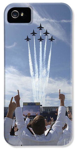 Celebration iPhone 5 Cases - Members Of The U.s. Naval Academy Cheer iPhone 5 Case by Stocktrek Images
