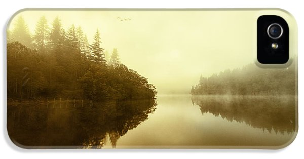Colour Image iPhone 5 Cases - Mist across the water Loch Ard iPhone 5 Case by John Farnan