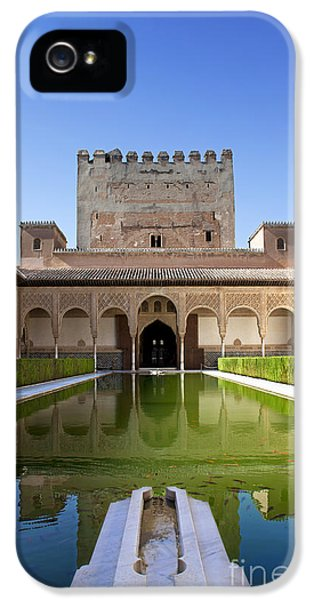 Andalusia iPhone 5 Cases - Nasrid Palace from fish pond iPhone 5 Case by Jane Rix