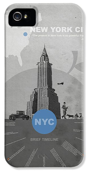 City iPhone 5 Cases - NYC Poster iPhone 5 Case by Naxart Studio