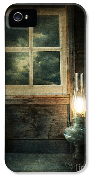 Haunted Houses iPhone 5 Cases - Oil Lamp on Table by Window iPhone 5 Case by Jill Battaglia