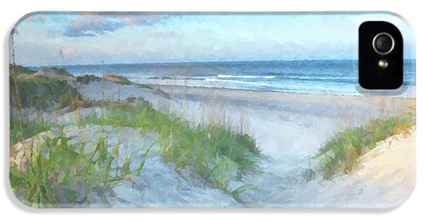 Bay iPhone 5 Cases - On The Beach Watercolor iPhone 5 Case by Randy Steele