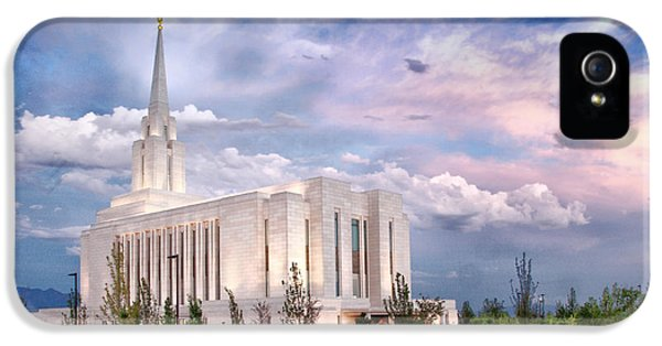 Slc iPhone 5 Cases - Oquirrh Mt Temple iPhone 5 Case by La Rae  Roberts