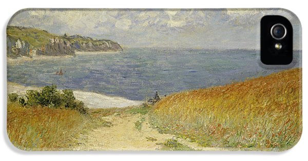 Navy iPhone 5 Cases - Path in the Wheat at Pourville iPhone 5 Case by Claude Monet