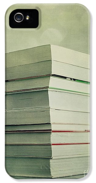 Still-life iPhone 5 Cases - Piled Reading Matter iPhone 5 Case by Priska Wettstein