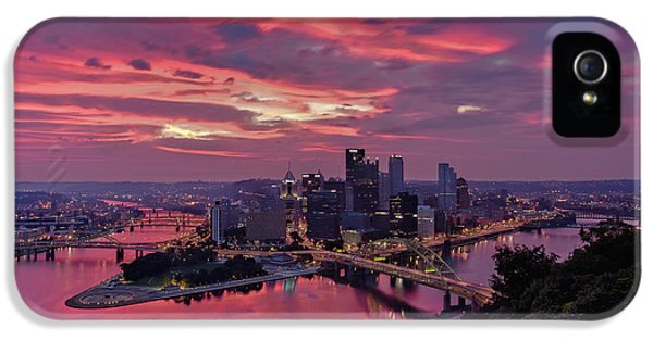 Pink Sunrise iPhone 5 Cases - Pittsburgh Dawn iPhone 5 Case by Jennifer Grover