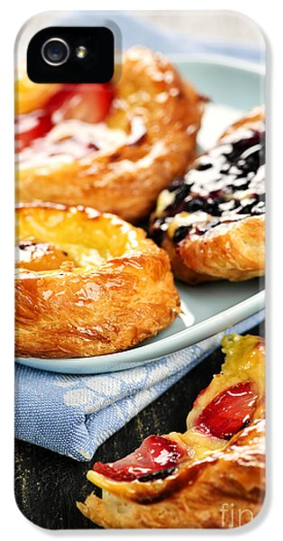 Danish iPhone 5 Cases - Plate of fruit danishes iPhone 5 Case by Elena Elisseeva
