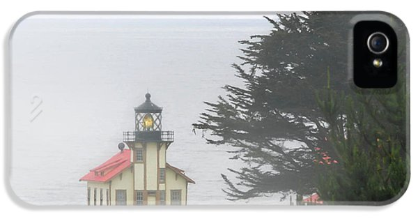 Foghorn iPhone 5 Cases - Point Cabrillo Light Station CA - Lighthouse in damp costal fog iPhone 5 Case by Christine Till