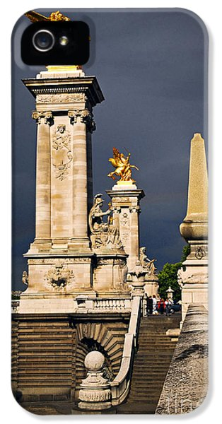 Fragment iPhone 5 Cases - Pont Alexander III in Paris before storm iPhone 5 Case by Elena Elisseeva