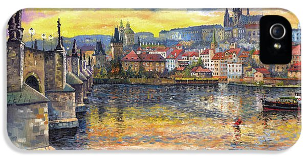 Landscapes iPhone 5 Cases - Prague Charles Bridge and Prague Castle with the Vltava River 1 iPhone 5 Case by Yuriy  Shevchuk