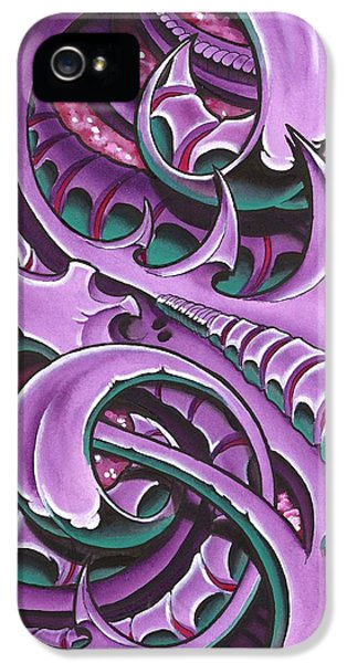 Bio-mechanical iPhone 5 Cases - Purple BioMech iPhone 5 Case by Joe Riley