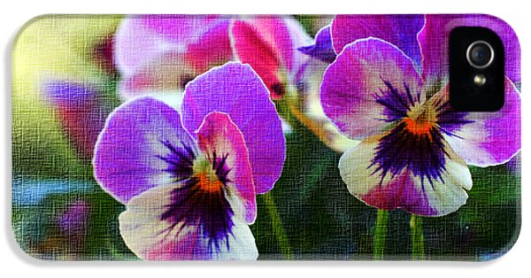 Environment Concept Art iPhone 5 Cases - Purple Pansies iPhone 5 Case by Heidi Smith