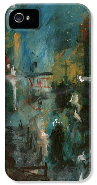 Abstract Canvas iPhone 5 Cases - Rain in the Night City iPhone 5 Case by David Finley