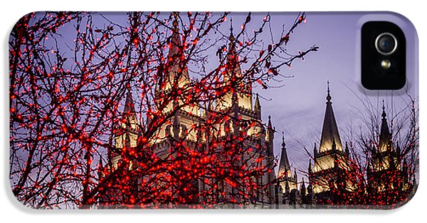 Slc iPhone 5 Cases - Red Tree Lights Temple iPhone 5 Case by La Rae  Roberts