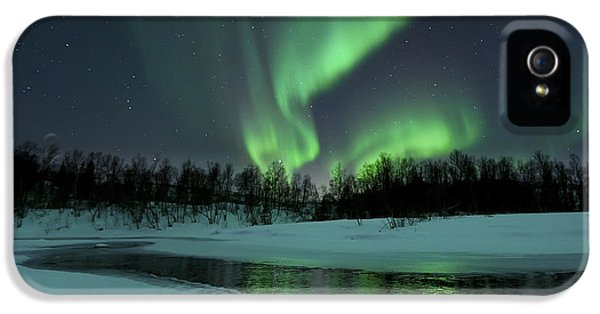 Reflection iPhone 5 Cases - Reflected Aurora Over A Frozen Laksa iPhone 5 Case by Arild Heitmann