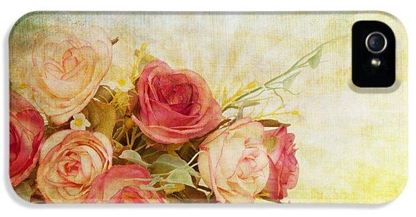 Roses iPhone 5 Cases - Roses Pattern Retro Design iPhone 5 Case by Setsiri Silapasuwanchai