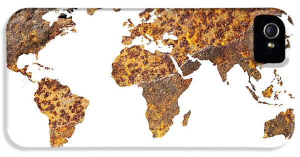 Corroded iPhone 5 Cases - Rusty World Map iPhone 5 Case by Tony Cordoza