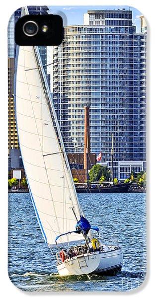 Harbor iPhone 5 Cases - Sailboat in Toronto harbor iPhone 5 Case by Elena Elisseeva