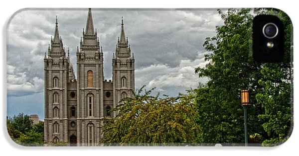 Slc iPhone 5 Cases - Salt Lake City Temple Grounds iPhone 5 Case by La Rae  Roberts