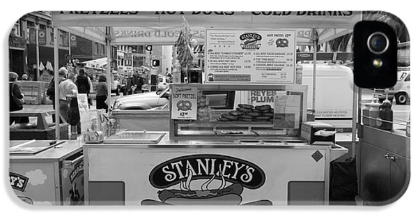 Hotdog iPhone 5 Cases - San Francisco - Stanleys Steamers Hot Dog Stand - 5D17929 - black and white iPhone 5 Case by Wingsdomain Art and Photography