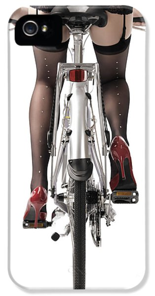 Stockings iPhone 5 Cases - Sexy Woman Riding a Bike iPhone 5 Case by Oleksiy Maksymenko