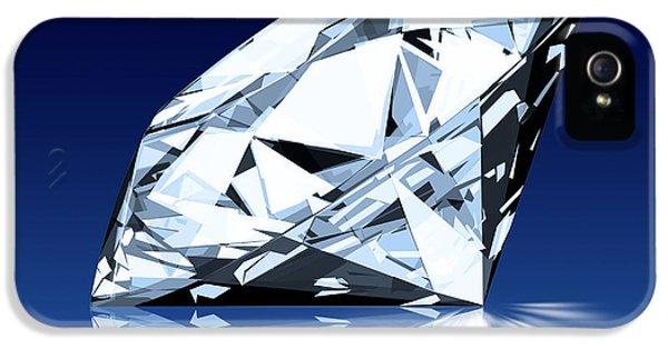 Background iPhone 5 Cases - Single Blue Diamond iPhone 5 Case by Setsiri Silapasuwanchai