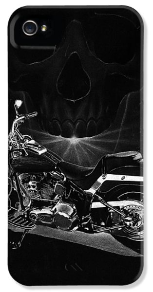 Pencil Drawing iPhone 5 Cases - Skull Harley iPhone 5 Case by Tim Dangaran