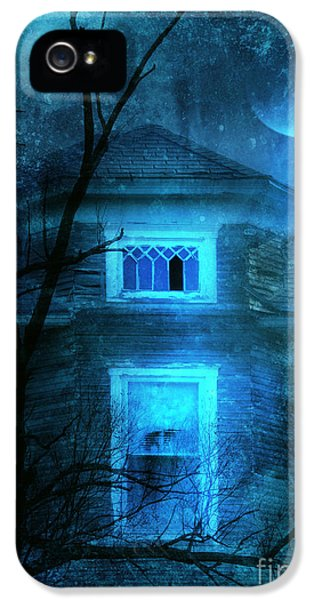Haunted Houses iPhone 5 Cases - Spooky House with Moon iPhone 5 Case by Jill Battaglia
