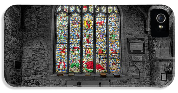 Cemetary iPhone 5 Cases - St Dyfnog Window iPhone 5 Case by Adrian Evans