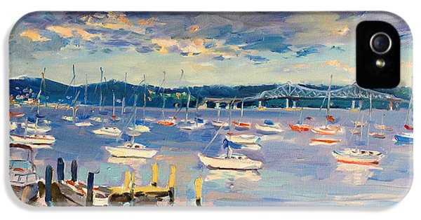 Hudson River iPhone 5 Cases - Sun and Clouds in Hudson iPhone 5 Case by Ylli Haruni