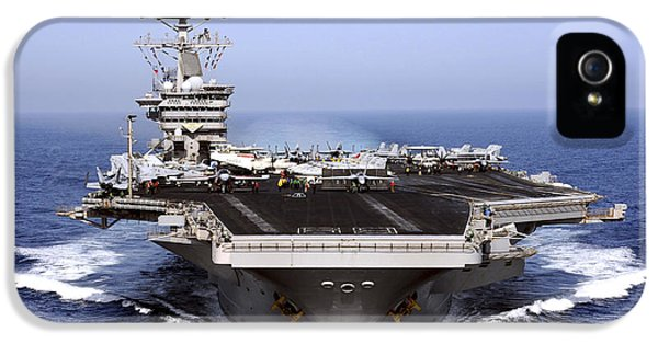Navy iPhone 5 Cases - The Aircraft Carrier Uss Dwight D iPhone 5 Case by Stocktrek Images