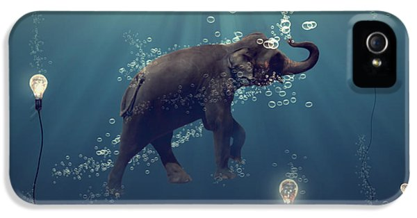 Elephant iPhone 5 Cases - The dreamer iPhone 5 Case by Martine Roch