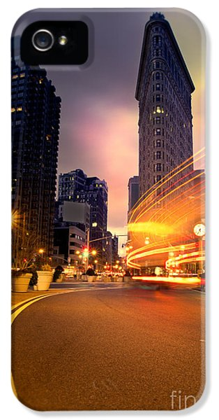 Point Of View iPhone 5 Cases - The Flat Iron Building with some magic happening iPhone 5 Case by John Farnan